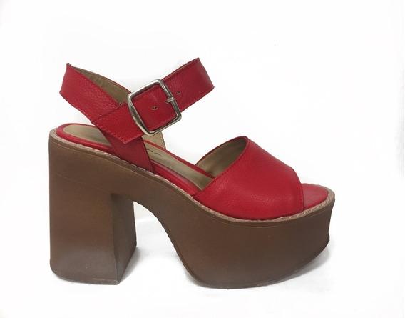 Zapato Lucerna Plataforma Cuero Tira Rojo