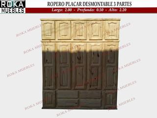 Ropero Placar De 3 Piezas Desmontable 2,00x0.50x2.30 Pino