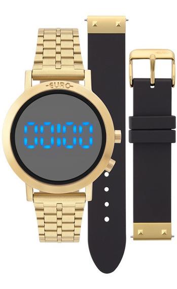 Relógio Euro Dourado Digital Led Feminino Eubj3407aa/t4p Nfe