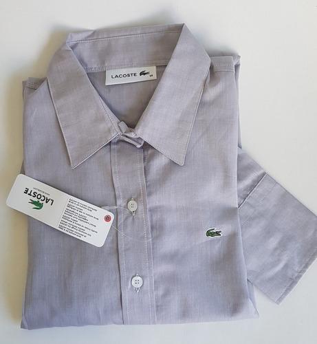 Camisa Social Feminina Lacostes Original Cinza T36