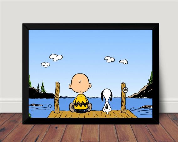 Lindo Quadro Decorativo Desenho Charlie Brown E Snoopy 42x29