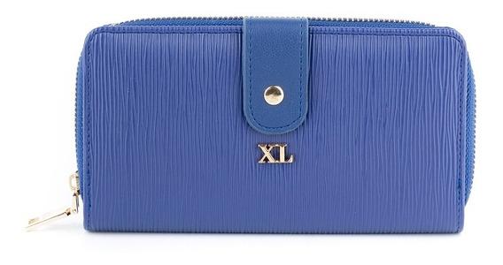 Billetera C/ Solapa Mujer Xl Extra Large Noa Azul