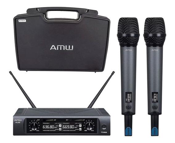 Microfone Sem Fio Duplo De Mão Uhf Amw Au32 - Usado