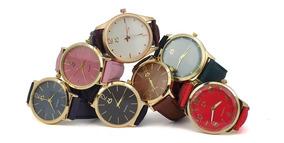 Kit 10 Relógios Orizom Pulseira De Couro Bonitos