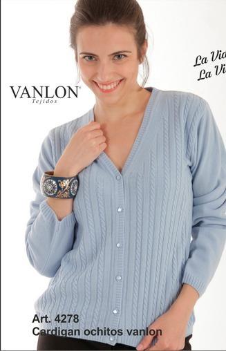 4278 Vanlon Cardigan Escote V Con Ochitos