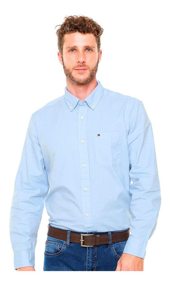 Camisa Tommy Hilfiger Classic Fit Capote Blue Azul Claro