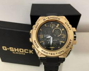Relógio Casio G-shock Aço 20 Bar Dourado Pulseira Borracha