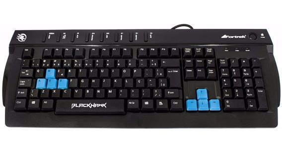 Teclado Gamer Blackhawk Fortrek Multimídia Blue Keys Abnt2