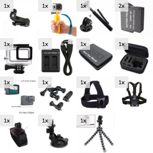 Kit Gopro Acessórios Hero 5 6 7 Black Película Case Tubos