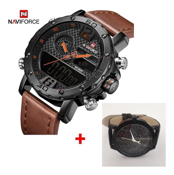 Relógio Esportivo Luxo Naviforce Modelo Nf9134bo + Brinde