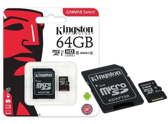 Cartão Mem Microsdxc 64gb Canvas Select Sdcs/64gb - Kingston
