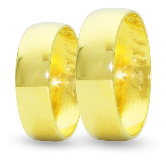 Par Alianças Ouro 18k 4g 5mm Larga Noivado E Casamento