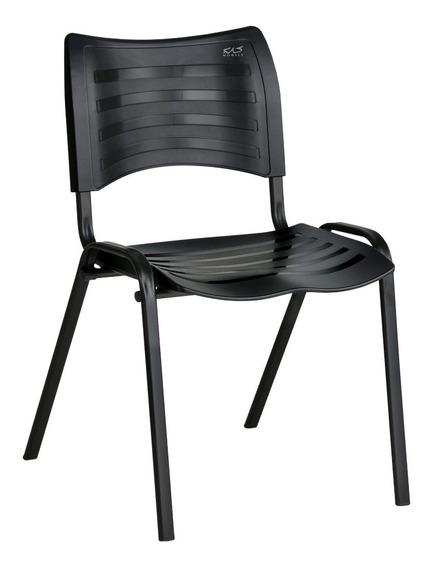 Cadeira Iso Plástica Empilhável, Preta Tubo Oval 16x30