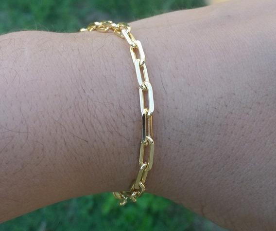 Pulseira Masculina 4mm Banhada Ouro 18k Cor Identica Ao Ouro