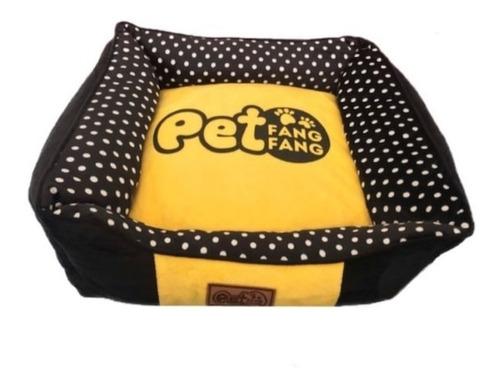 Cama Para Cachorro Gato Pet France Pelúcia Amarela E Preta M