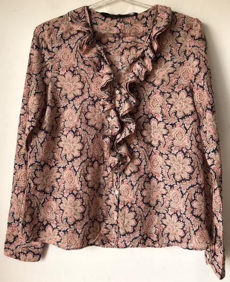 Camisa Blusa Estampada De Mujer Marca Zara Talle M
