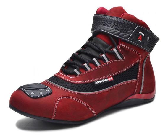 Tênis De Motociclista Cano Alto C/ Refletivo Atron 310 Red