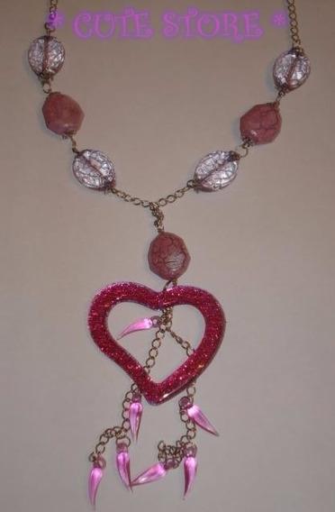 Colar Coração Com Glitter Contas Rosa