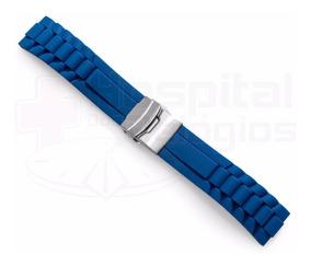 Pulseira Borracha Silicone Azul 18mm C/ Fecho Deployant