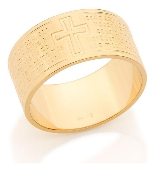 Anel Rommanel Unissex Aro Largo Oração Pai Nosso Cruz Cristã