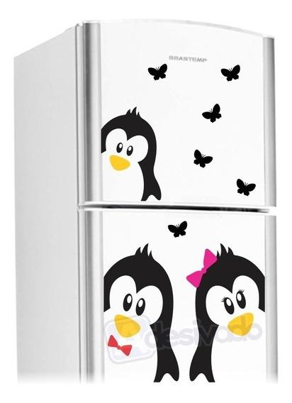 Adesivo Geladeira Casal Pinguins + Borboletas + Filhote 02