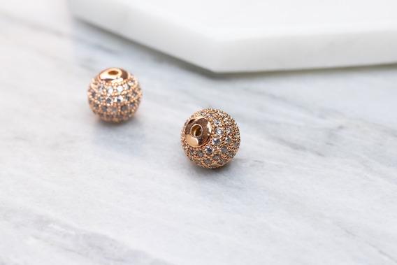 Esfera Rose Gold Con Zirconia 10mm - Ideal Para Bisutería