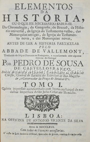 Livro Antigo Raro - Elementos Da Historia - 1767 - 5 Tomos