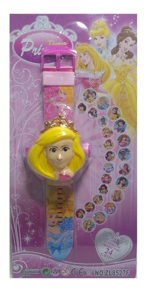 Relógio Infantil Projetor 24 Imagens Das Princesas Digital