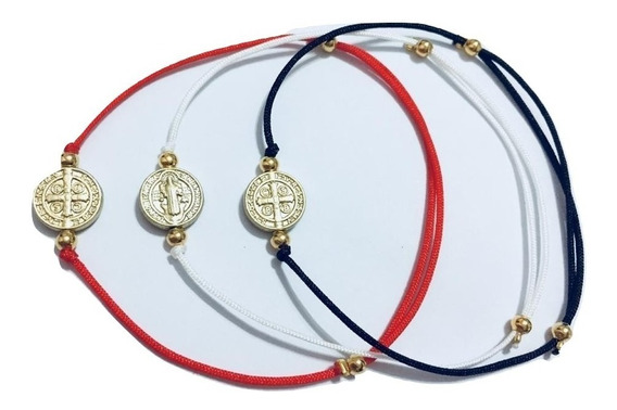 Pulsera Hilo Rojo O Negro San Benito Medalla 1 Cm
