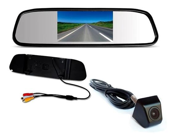 Kit Espelho Retrovisor Monitor Com Camera De Ré Tela Lcd 4,3