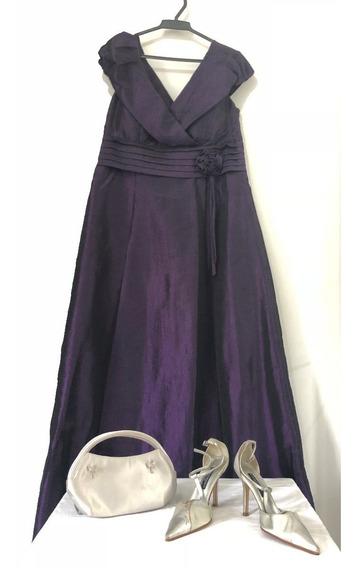 Vestido De Festa Roxo Com Sapato E Bolsa Prata