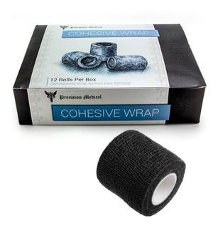 Fita Adesiva Bandagem Elastica Coesiva 12 Unidades Preto