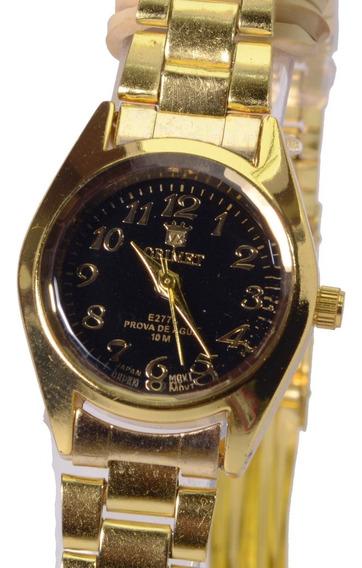 Relógio Feminino Dourado Orimet Resistente Barato Pequeno.