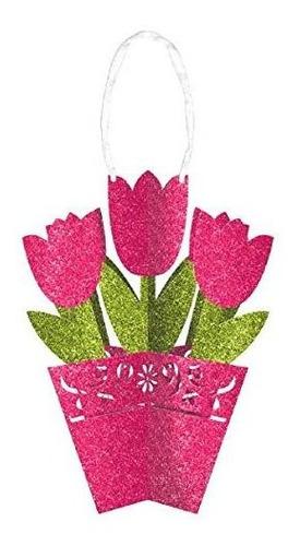 Amscan Glitter 3-d Tulipan Con Ribbon Spring Party Decoracio