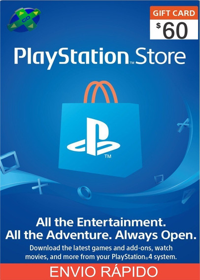 Playstation Network Card $50+$10 Cartão Psn Usa $ 60 Dólares
