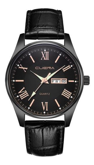 Reloj Para Caballero Color Negro De Vidrio Y Calendario