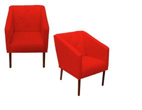 Jogo 02 Poltrona Cadeira Lis Sala De Espera - Vermelho