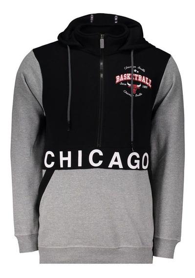 Moletom Nba Chicago Bulls Escudo Cinza E Preto