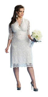 Vestido Noiva Plus Size,casamento Civil,religioso Com Mangas