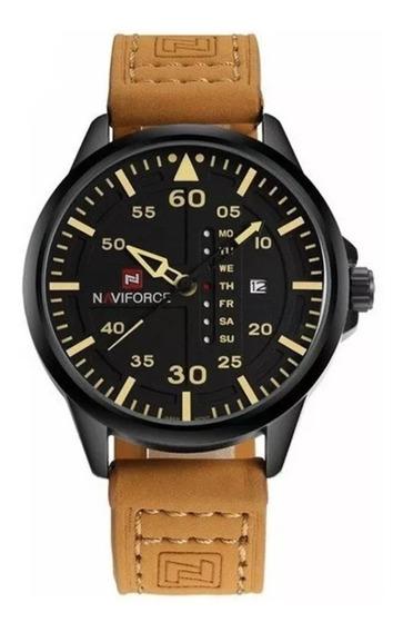 Relógios De Pulso Masculino Naviforce Pulseira De Couro 9074