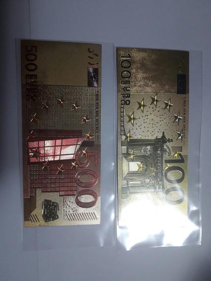 Europa Billetes Euros Baño Oro 24k. Coleccionistas