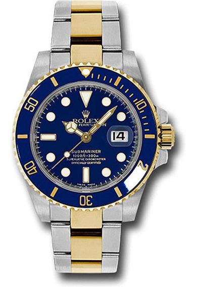 Relógio X09 Submariner Azul Puls. Aço Mista Inoxidável
