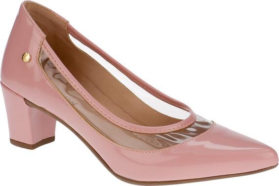 Sapato Feminino Scarpin Salto Grosso Cristal Transparente