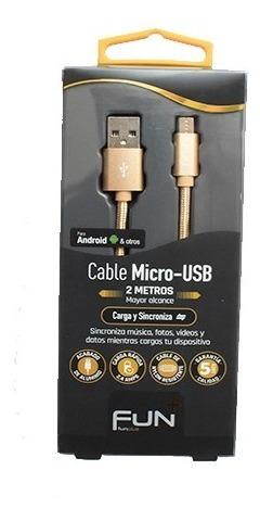 Cable Micro-usb 2 Metros Cargador Y Transmisor De Datos