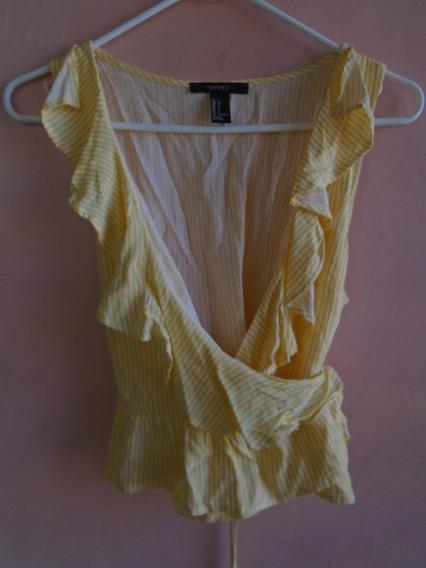 Blusa Original Forever21, Rayas Amarillas Y Blancas, S