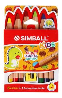 Súper Lápices Jumbo X 6 Colores + Sacapuntas Simball Kids