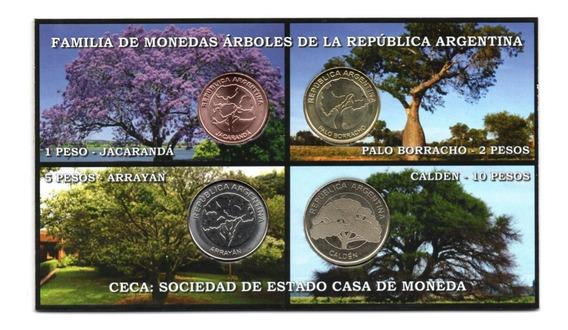 Blister 4 Monedas Argentina Serie Arboles 2017-2018 Nuevo