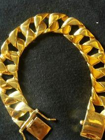 Pulseira Masculina Prata 950 Banhada A Ouro 18k C/garantia