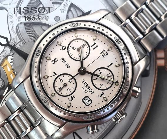 Tissot Pr50 Cronografo Swiss Todo Em Aço E Safira
