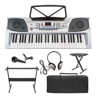 Teclado 54 Notas Gris Con Micrófono Y Audífonos